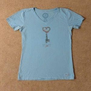 LIFE IS GOOD light blue tshirt, Sz Sm
